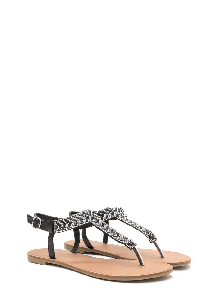 Glitzy Steps Chevron T-Strap Sandals