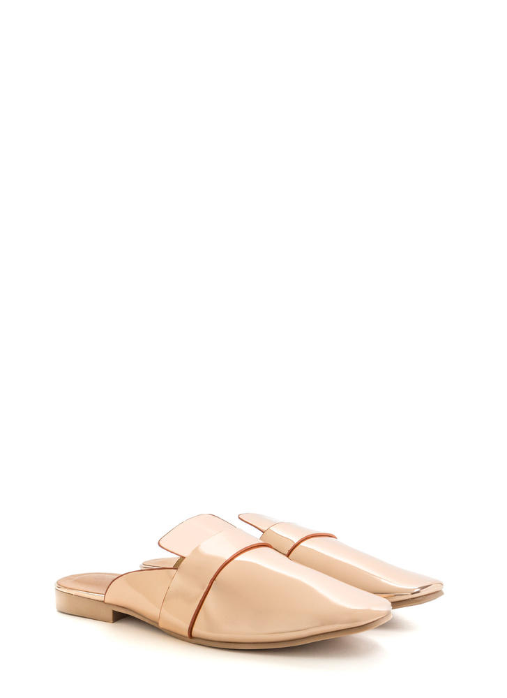 Slide By Metallic Mule Flats ROSEGOLD
