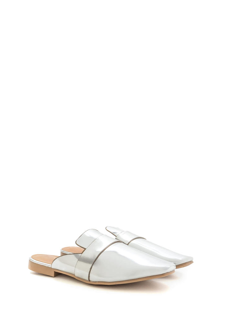 Slide By Metallic Mule Flats SILVER