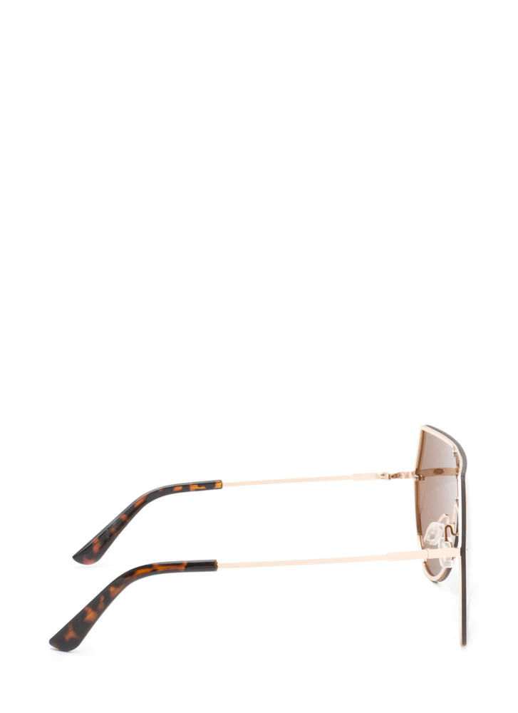 New Stunners Mirrored Shield Sunglasses BROWN