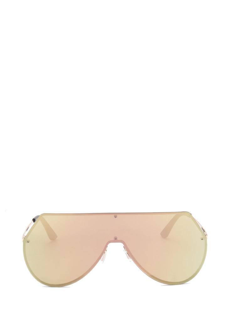 New Stunners Mirrored Shield Sunglasses GOLD