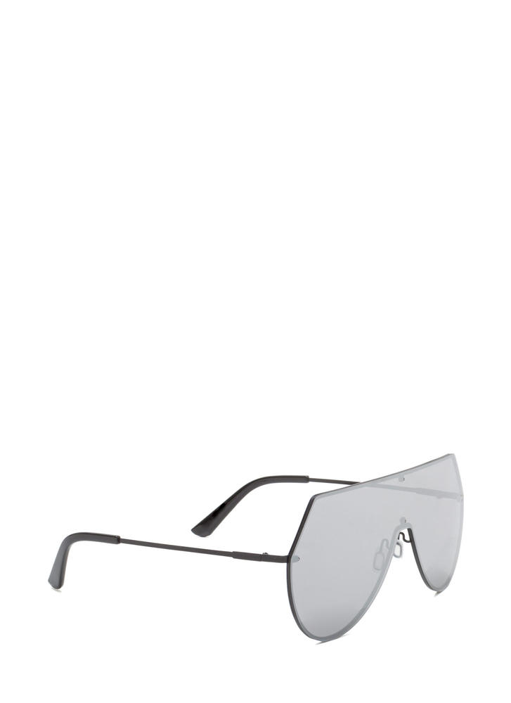 New Stunners Mirrored Shield Sunglasses SILVER