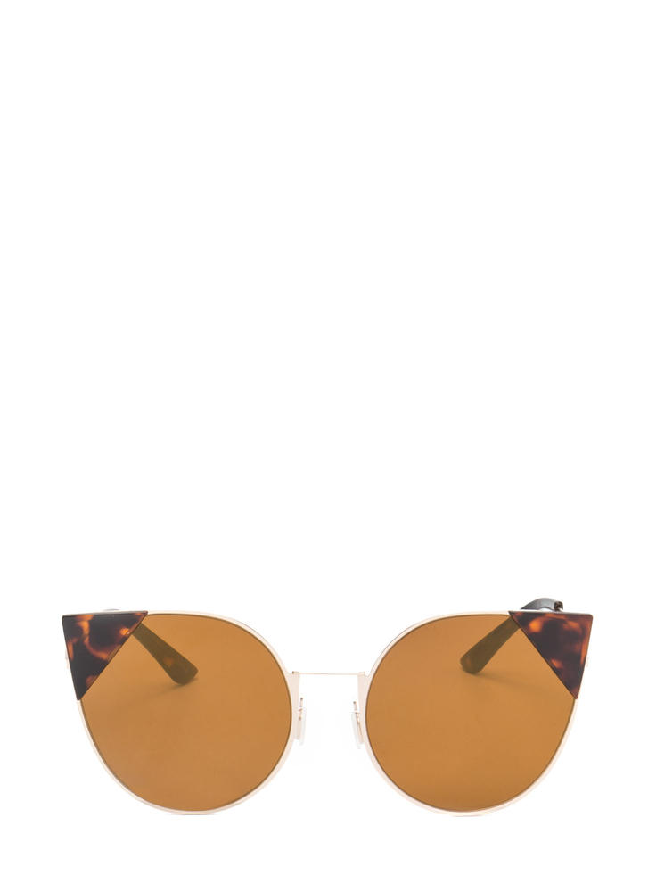 Feline Cute Tipped Rounded Sunglasses BROWN