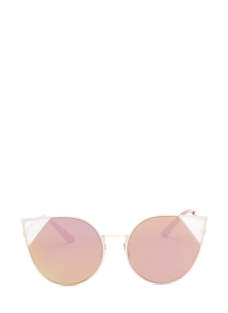 Feline Cute Tipped Rounded Sunglasses PINK