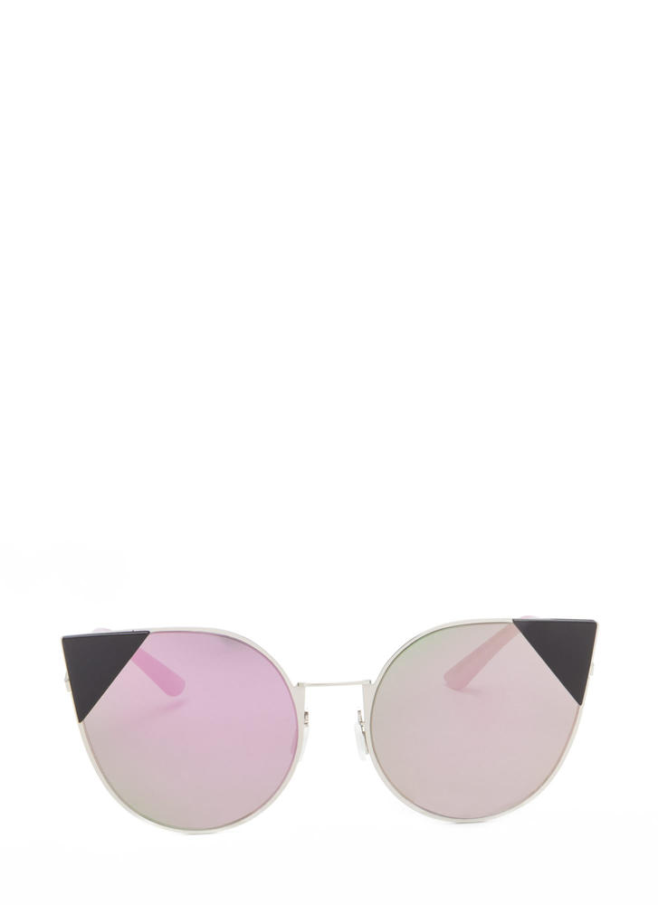 Feline Cute Tipped Rounded Sunglasses PURPLE