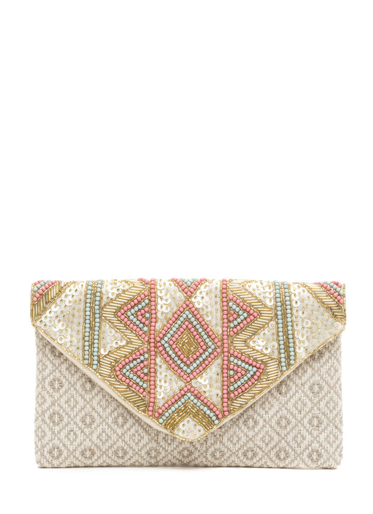 Textured Beauty Beaded Woven Clutch