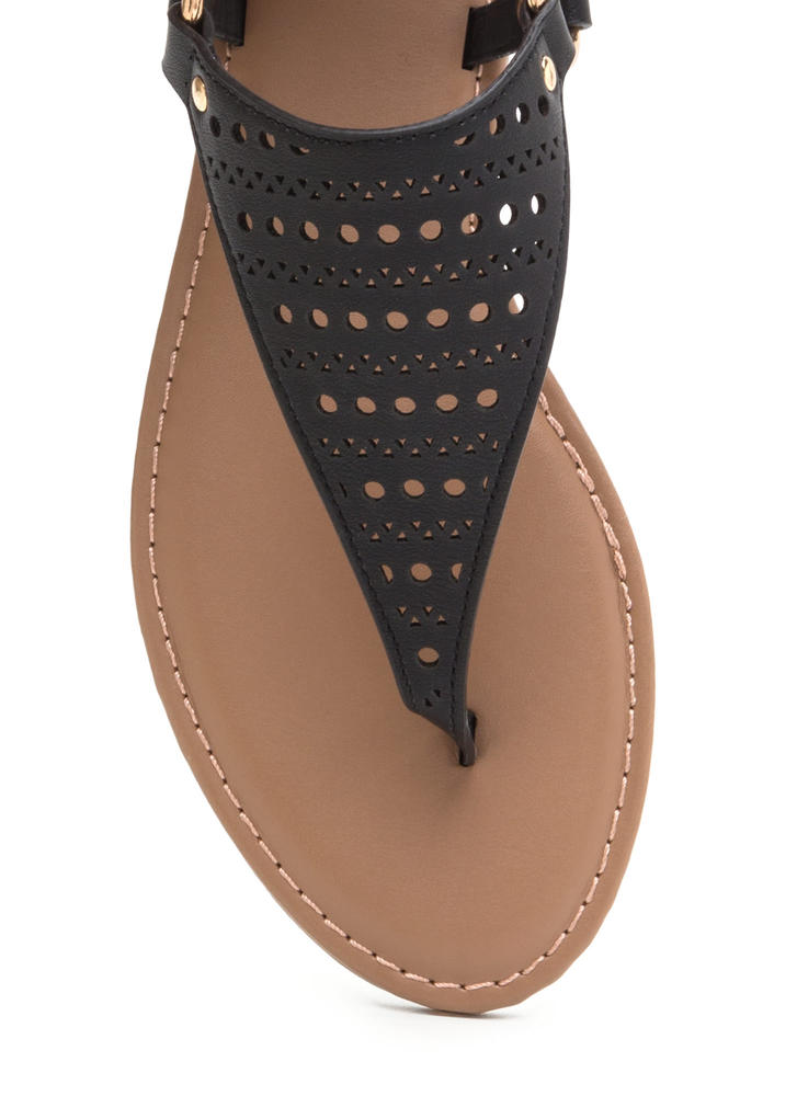 Shape Changer Perforated T-Strap Sandals BLACK