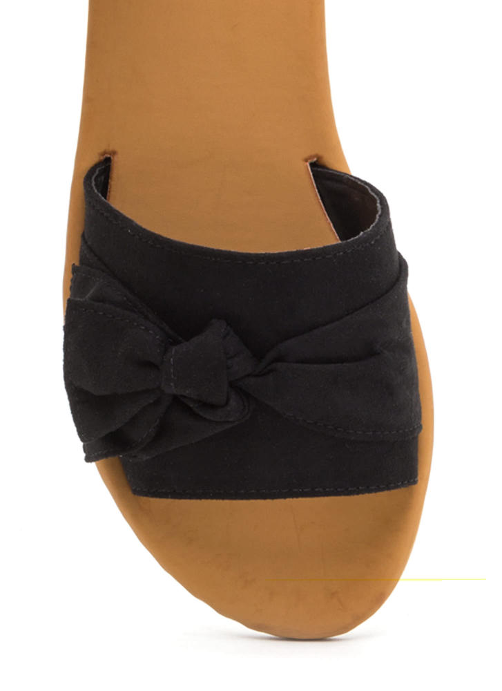 Can You Knot Faux Suede Bow Sandals BLACK