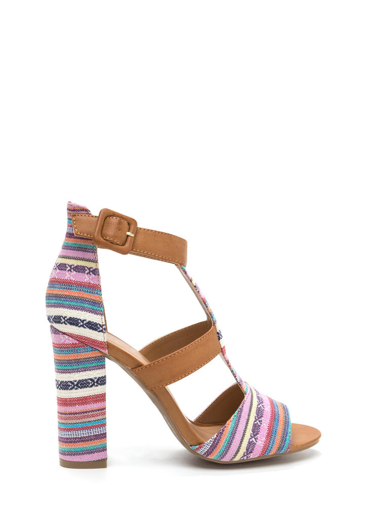 Tapestry Vibes Striped Chunky Heels