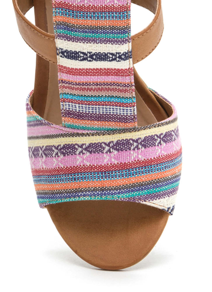Tapestry Vibes Striped Chunky Heels NATURAL