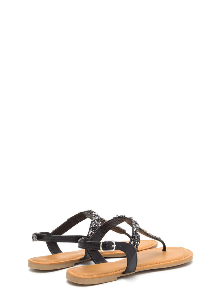 Seeking Treasure Jeweled T-Strap Sandals BLACK