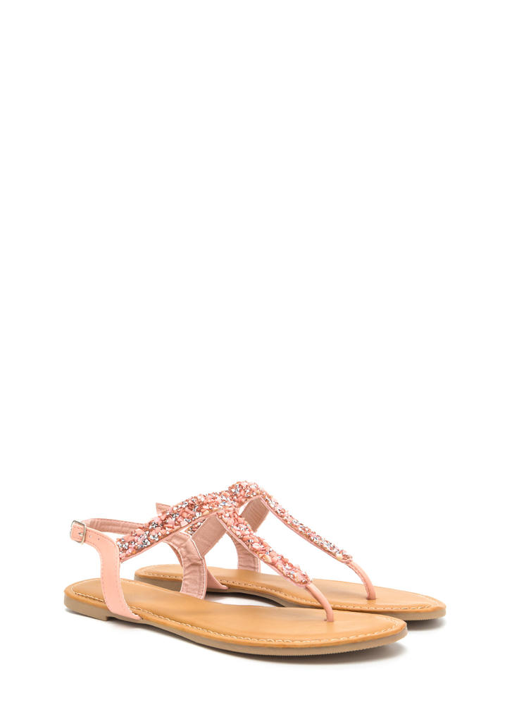 Seeking Treasure Jeweled T-Strap Sandals PINK