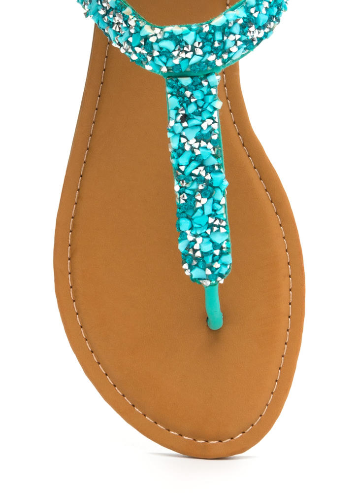 Seeking Treasure Jeweled T-Strap Sandals TURQUOISE