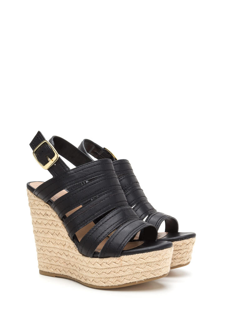Take Five Strappy Espadrille Wedges BLACK