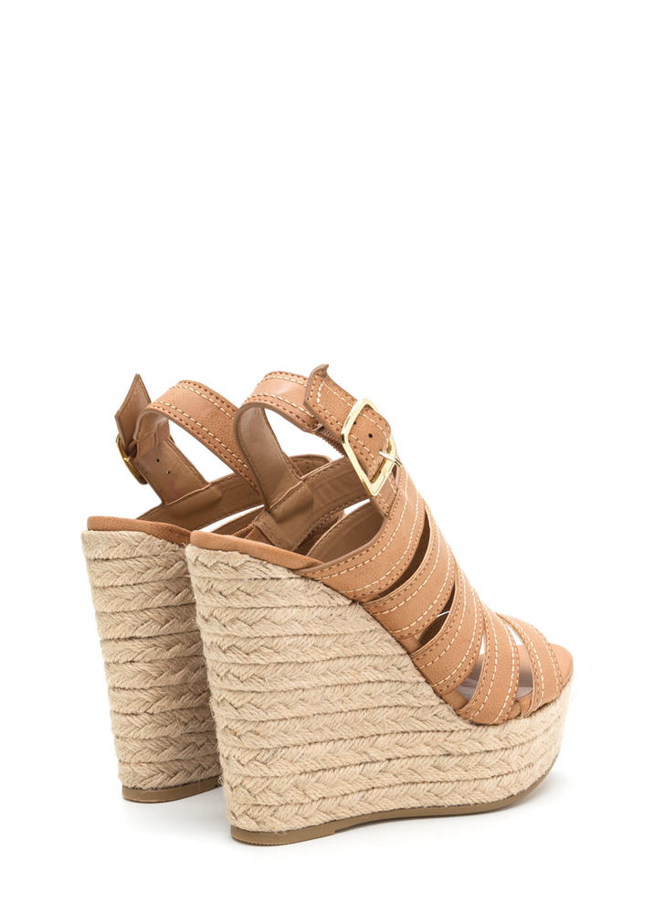 Take Five Strappy Espadrille Wedges TAN