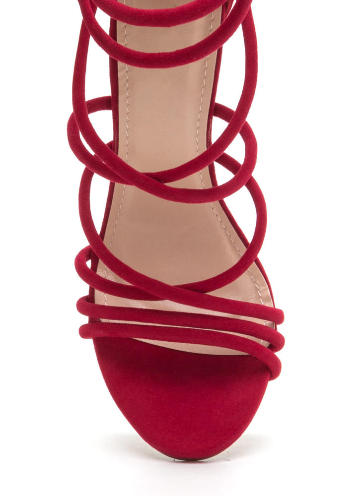 Own The Night Faux Suede Caged Heels RED