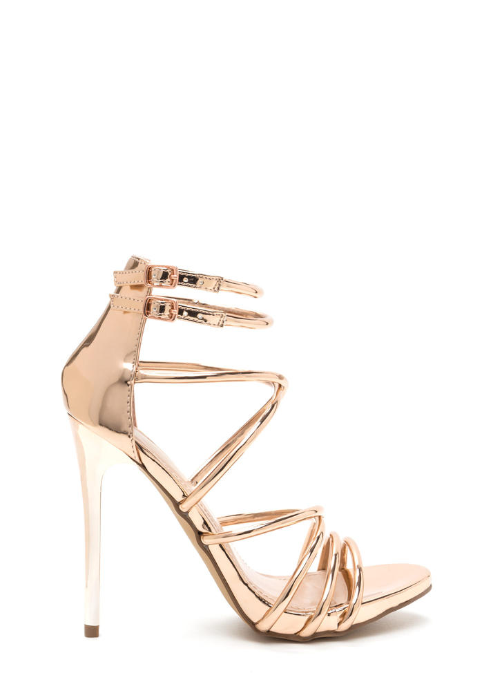 Own The Night Metallic Caged Heels