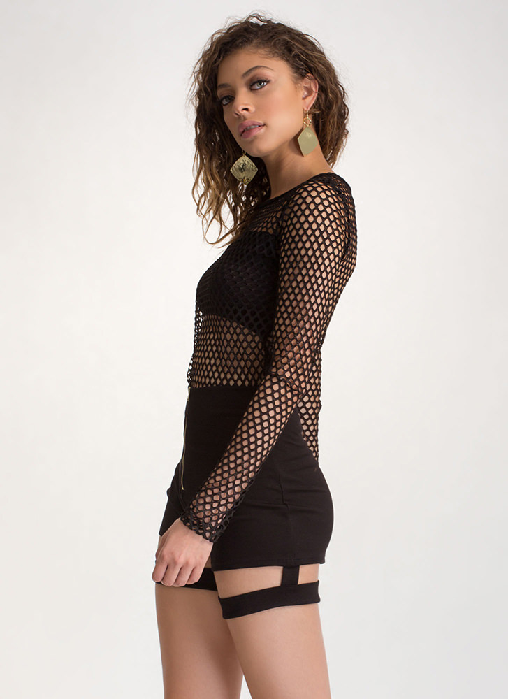 Into The Net Sheer Long-Sleeve Top BLACK