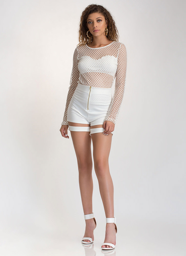 Into The Net Sheer Long-Sleeve Top WHITE