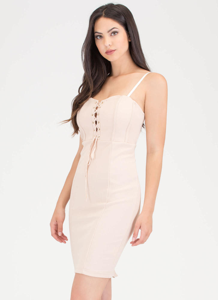 Romance Me Lace-Up Bodycon Dress TAUPE