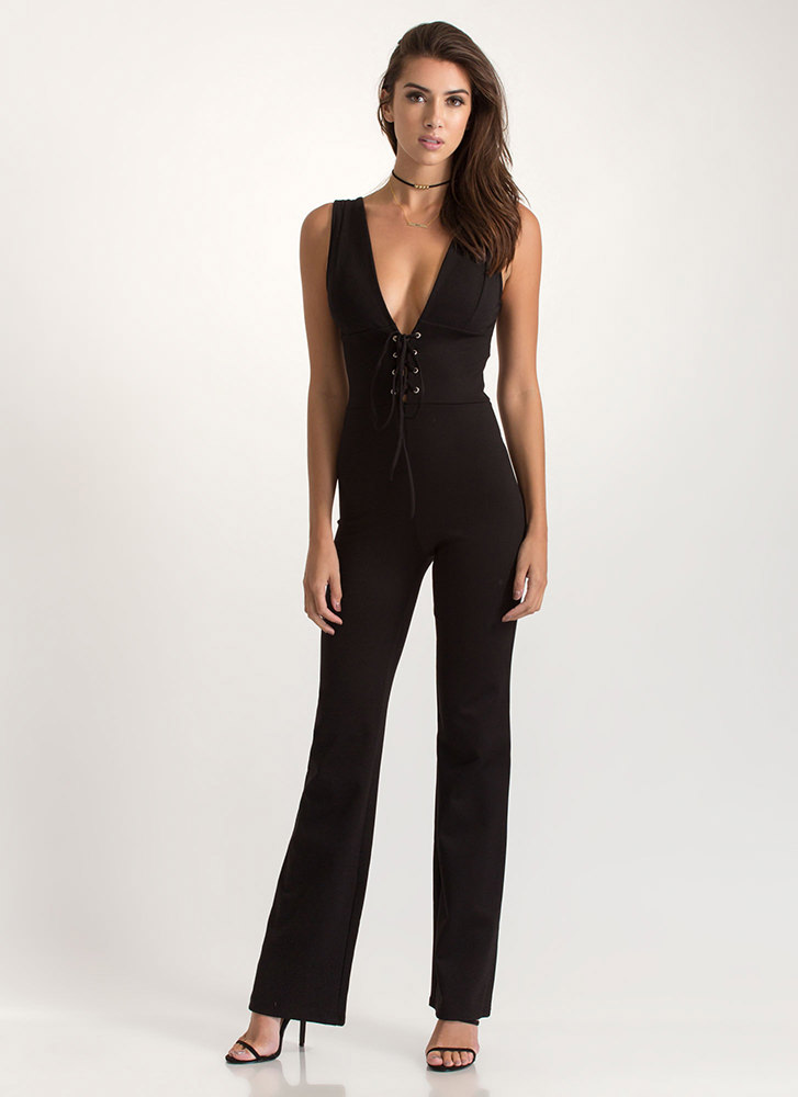 Starlet Curves Lace-Up Corset Jumpsuit