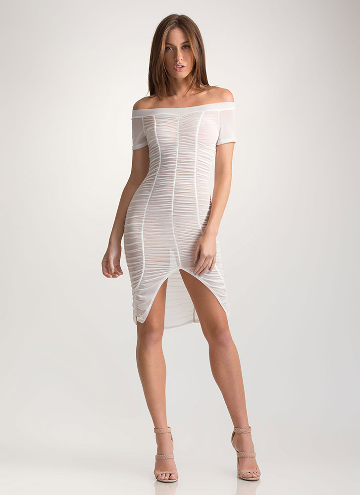 Ruche Over Sheer Off-Shoulder Dress WHITE