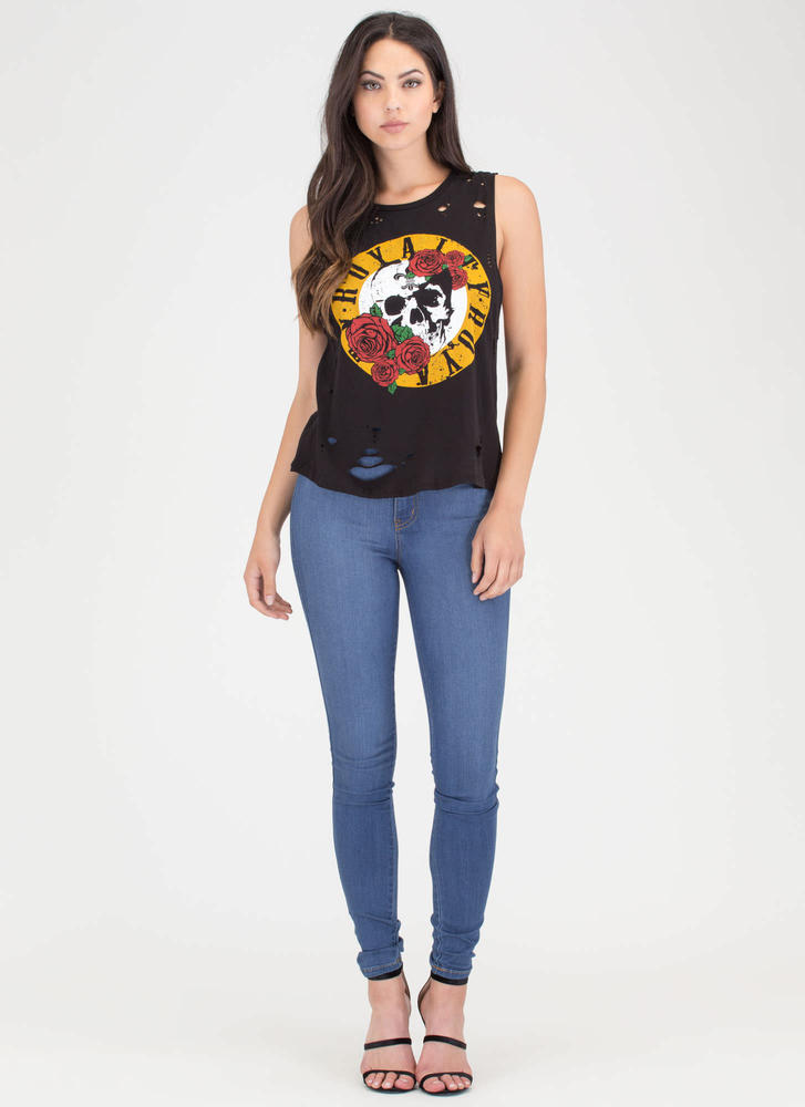 Royalty Skull And Rose Distressed Tank BLACK