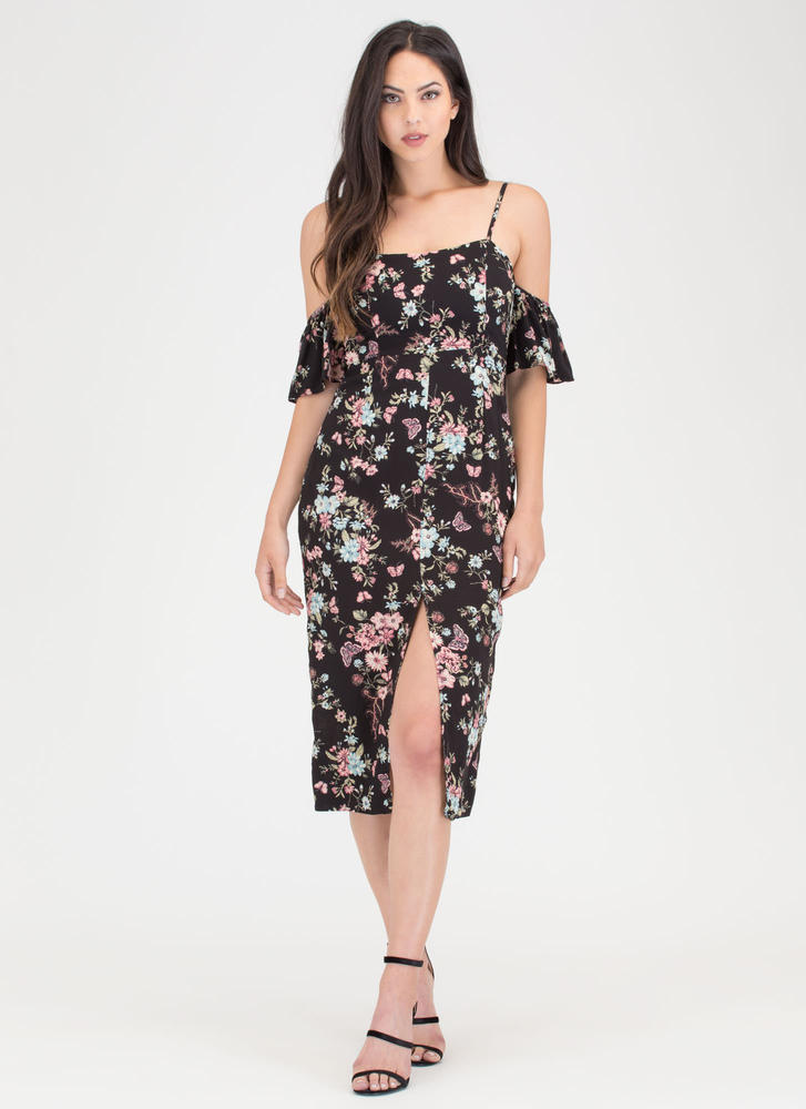 Natural Beauty Floral Off-Shoulder Dress