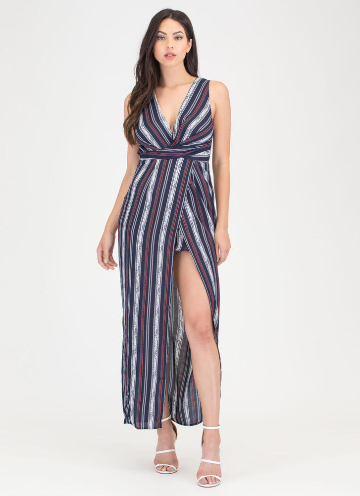 Lined Up Next Striped Faux Wrap Maxi