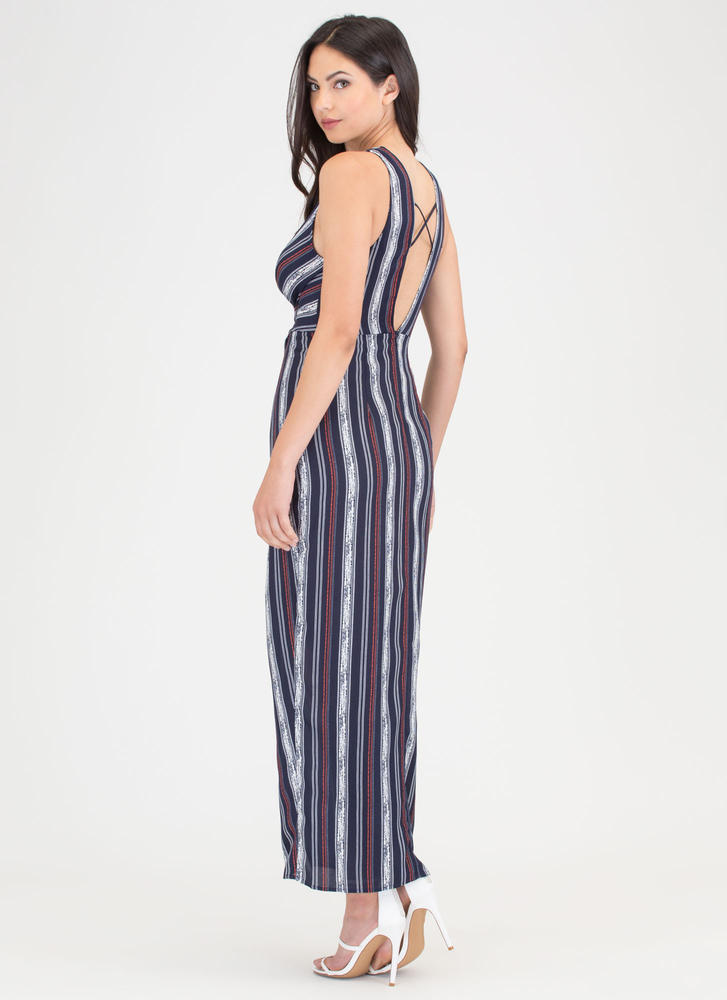 Lined Up Next Striped Faux Wrap Maxi NAVY