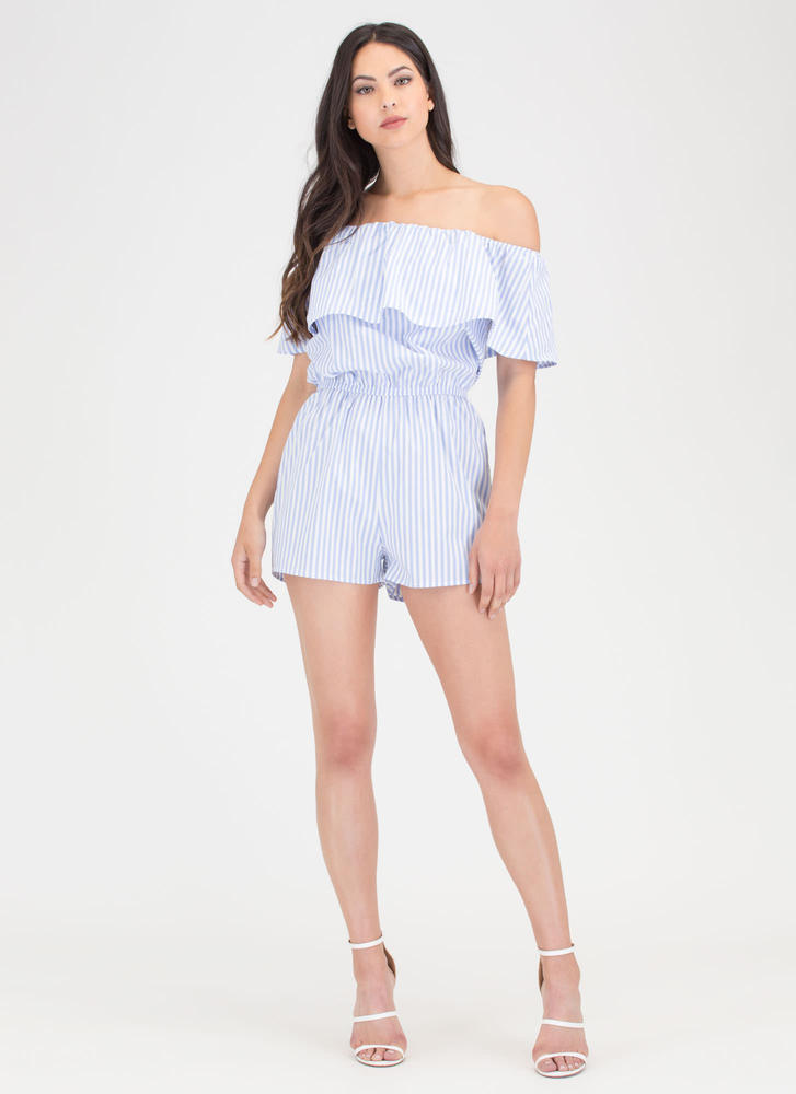 Easy Life Striped Off-Shoulder Romper LTBLUE