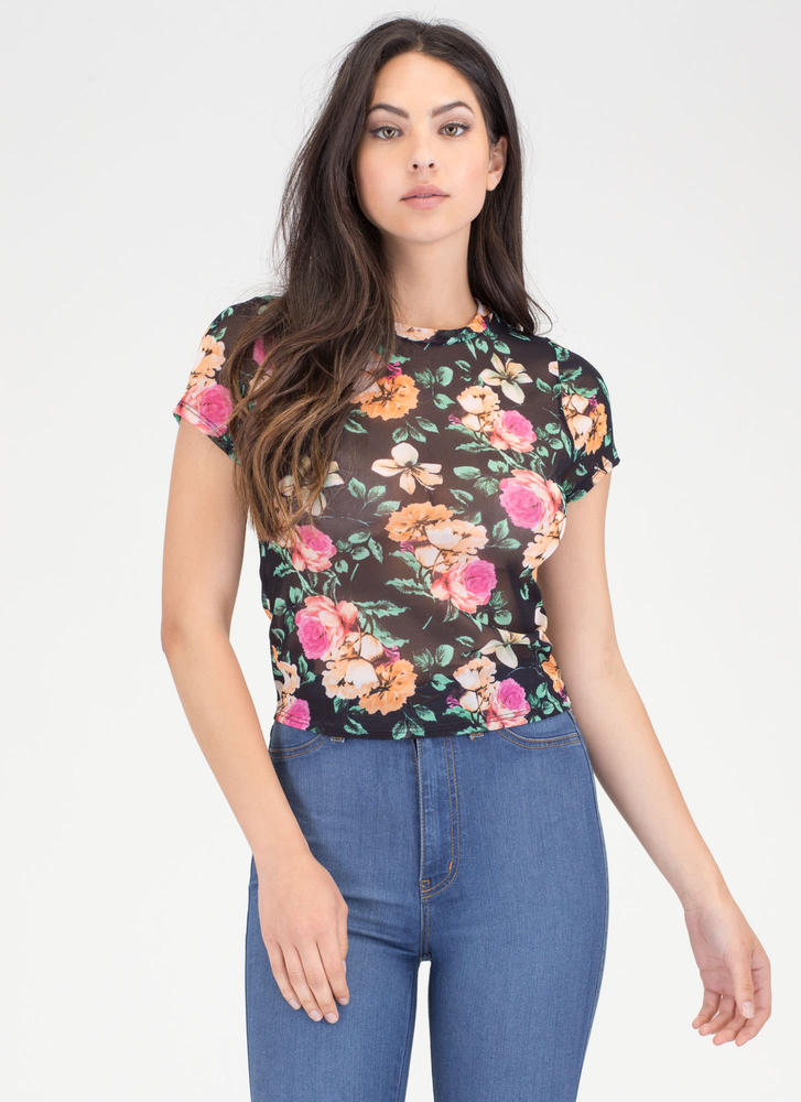 All Flowers All The Time Sheer Mesh Top