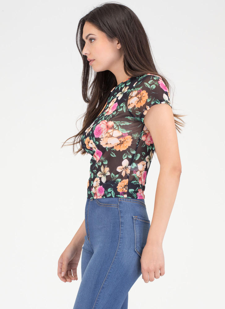 All Flowers All The Time Sheer Mesh Top BLACK