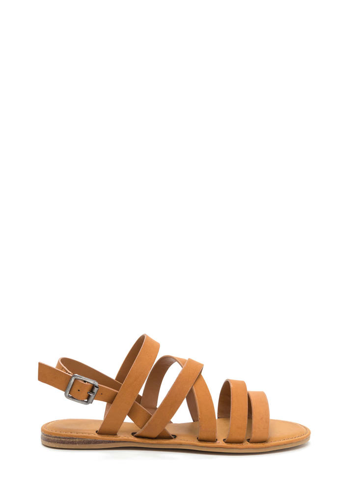 Strap Battle Caged Faux Leather Sandals