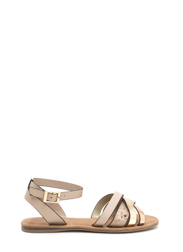 Strappy Day Faux Snakeskin Sandals
