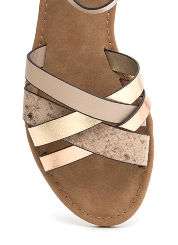Strappy Day Faux Snakeskin Sandals BEIGE