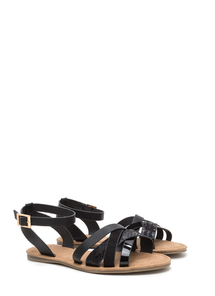 Strappy Day Mixed Media Sandals BLACK