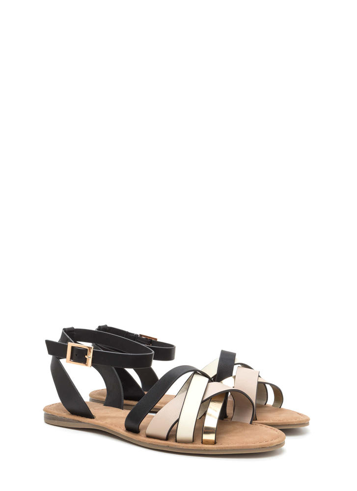 Strappy Day Mixed Media Sandals WHITE