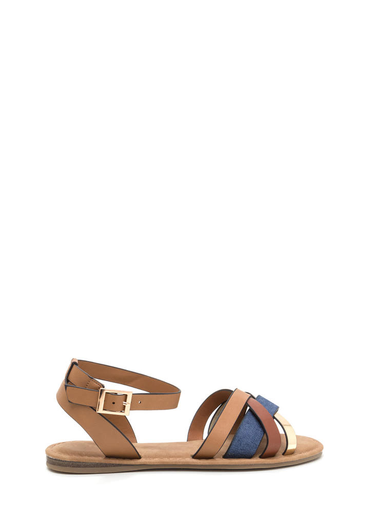 Strappy Day Mixed Denim Sandals