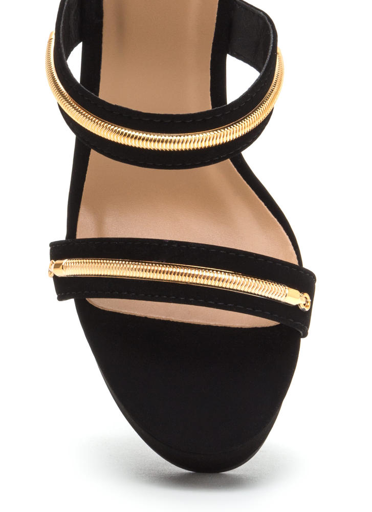 To The Top Strappy Platform Wedges BLACK