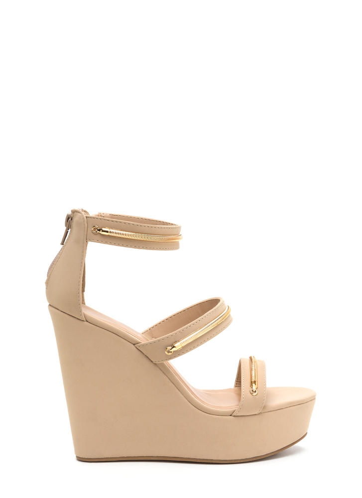 To The Top Strappy Platform Wedges NUDE