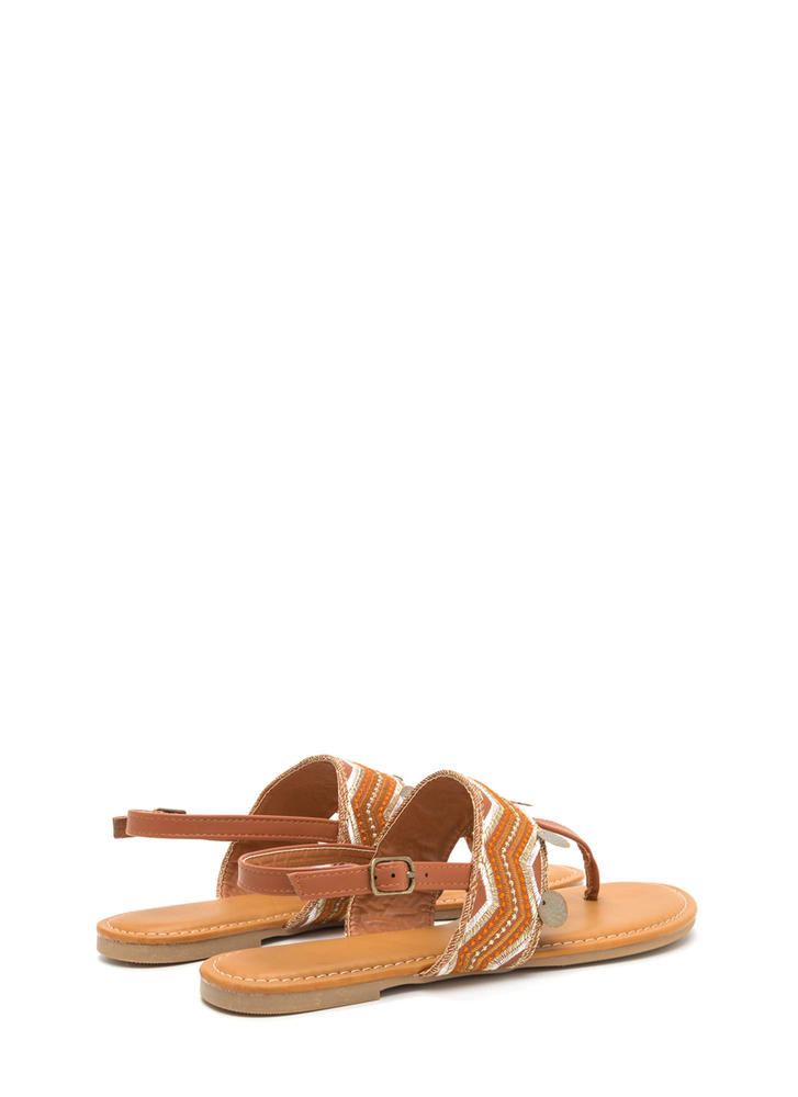 Boho Dance Embellished T-Strap Sandals TAN