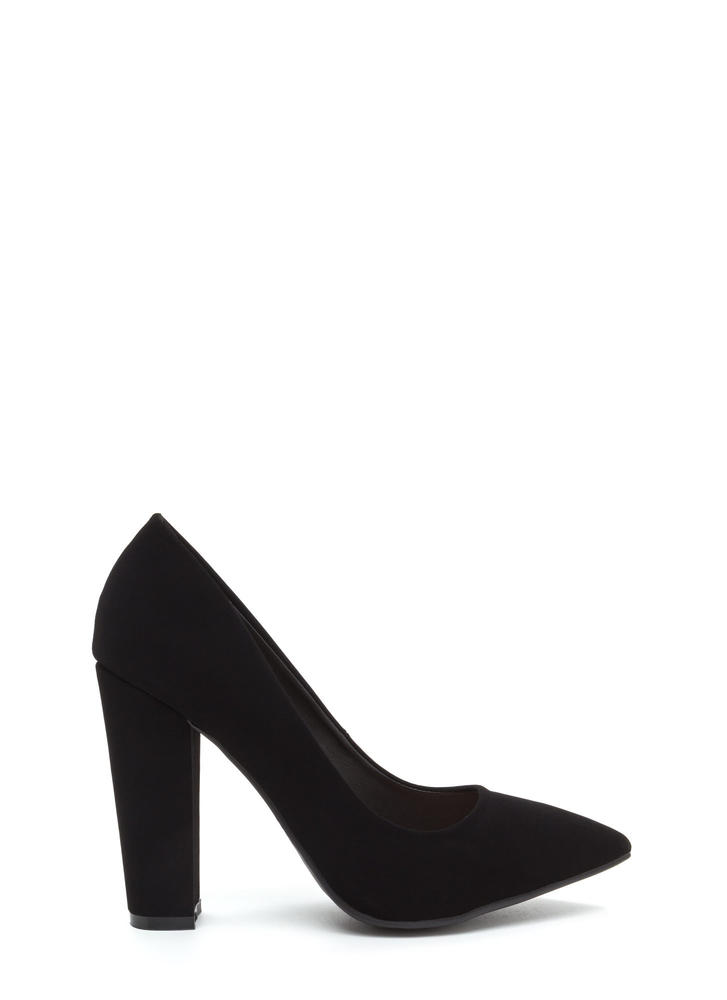 Point Taken Chunky Faux Nubuck Heels