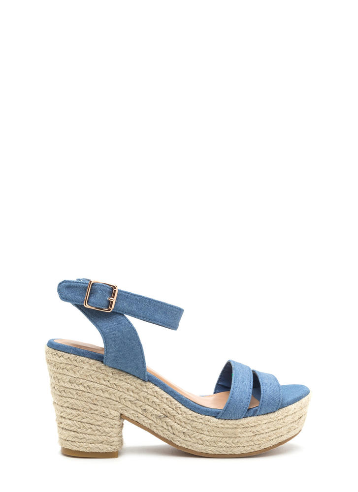 Jet Set Chunky Denim Espadrille Heels BLUE