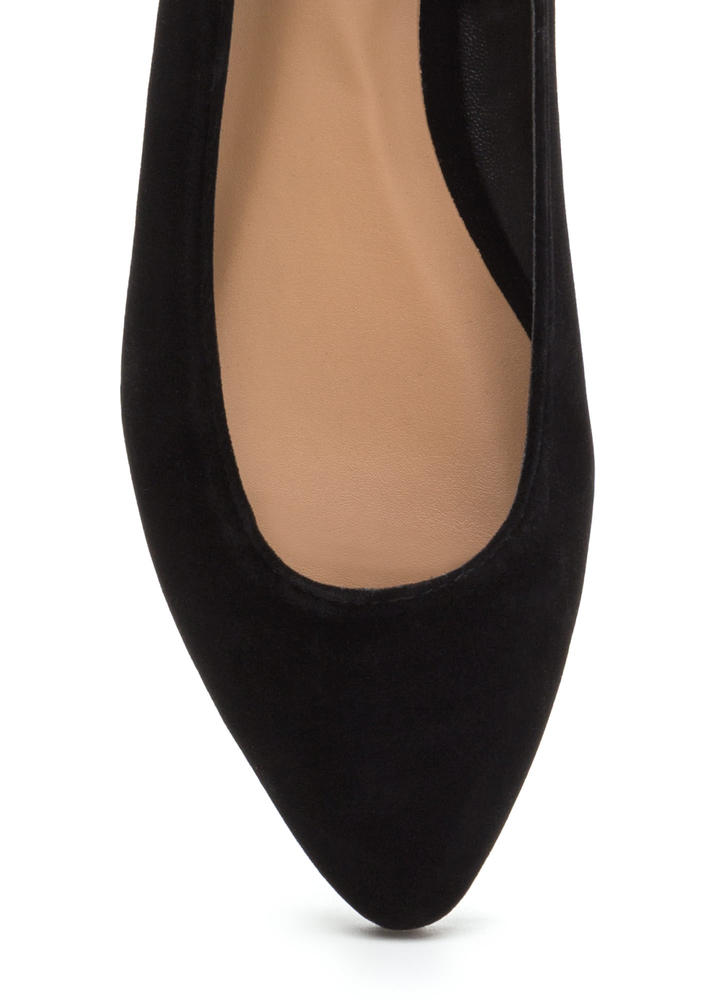 Toe To Toe Pointy Faux Suede Flats BLACK