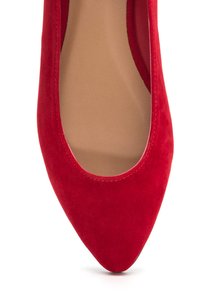 Toe To Toe Pointy Faux Suede Flats RED