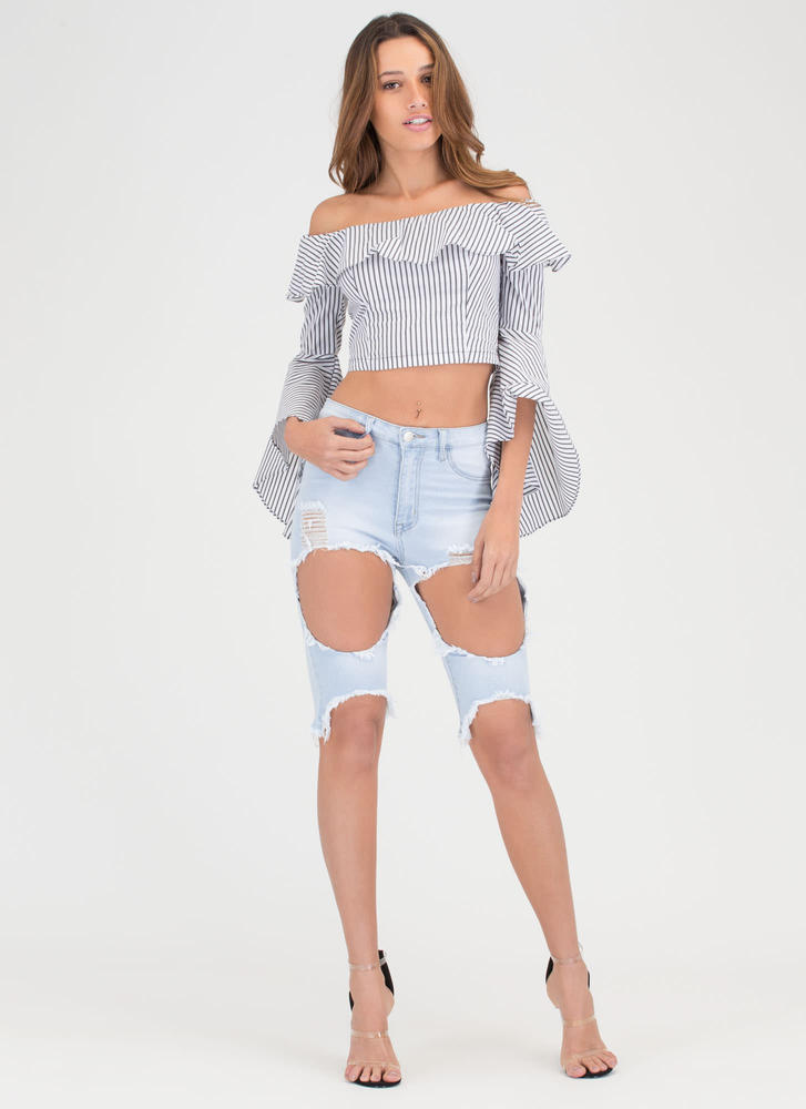 Flare Ball Striped Off-Shoulder Crop Top WHITE