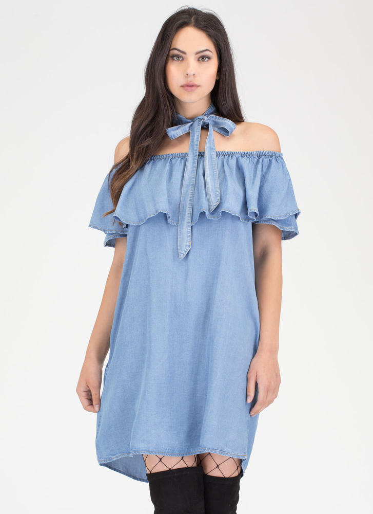 It's Tied Off-Shoulder Chambray Dress
