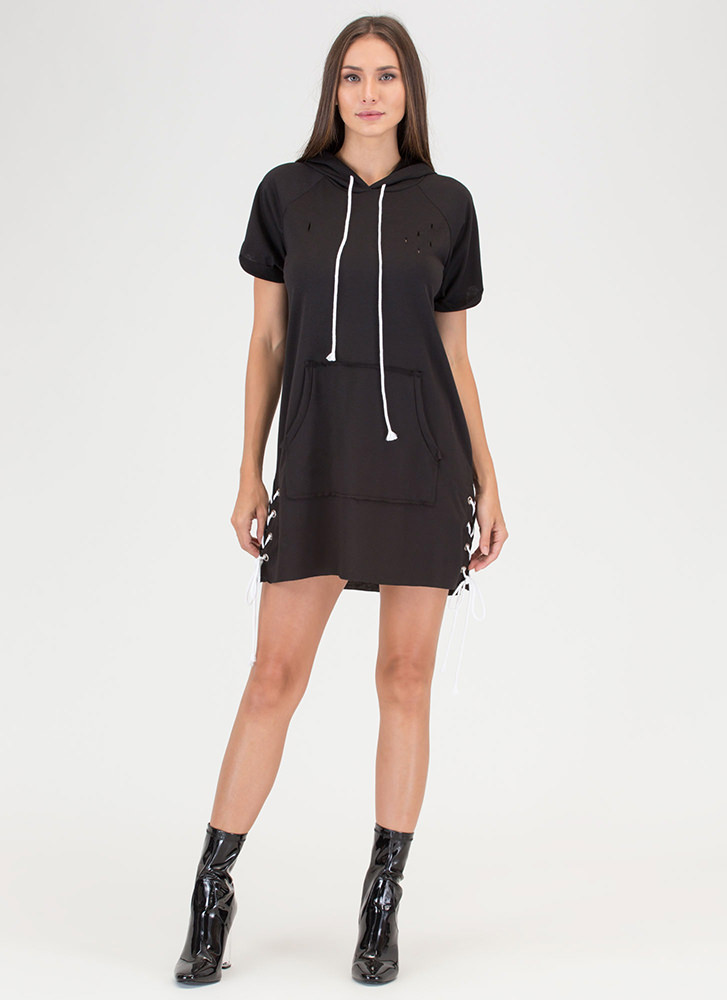 Pop The Hood Lace-Up Sweatshirt Dress