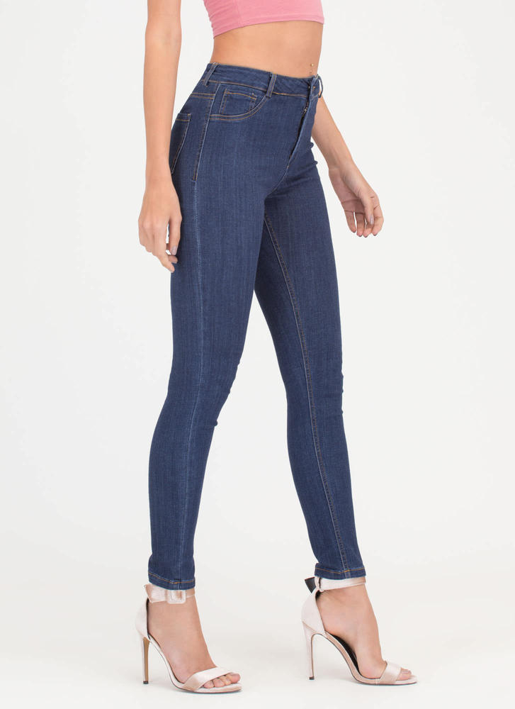 Curve Appeal High-Waisted Skinny Jeans DKBLUE